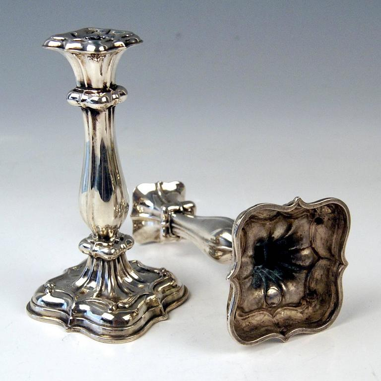 Silver 13 Lot Pair of Biedermeier Candlesticks Budapest Hungary Made 1840-1850 In Excellent Condition For Sale In Vienna, AT