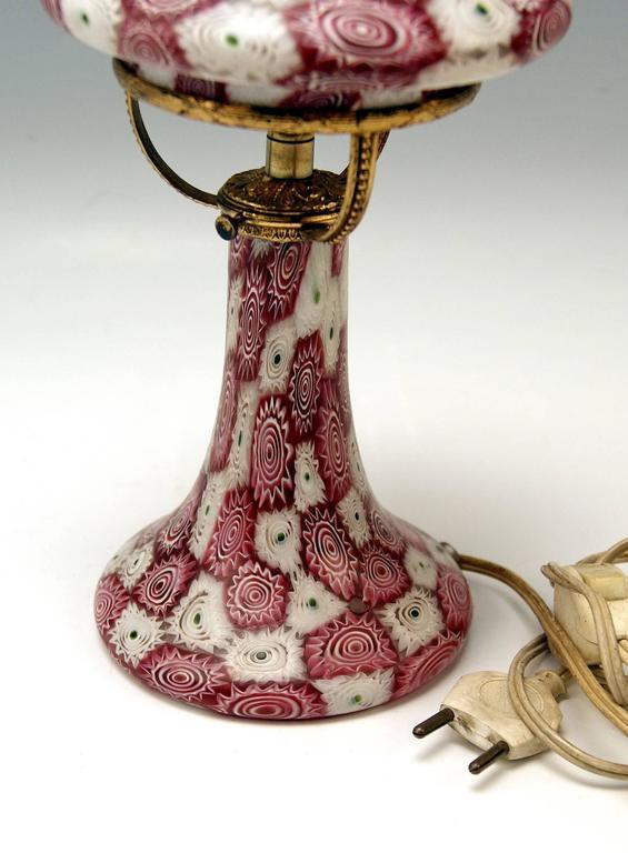 Italian Murano Vintage Nice Glass Lamp Millefiori Fratelli Toso, circa 1920 For Sale