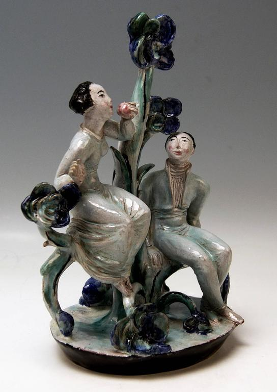 Superb ceramics figurine group depicting Adam and Eve.  Designed byLotte Calm-Wierink (1897 - died after ther year 1953): One of the most interesting female expressive ceramics designers/modellers having been active on behalf of WIENER