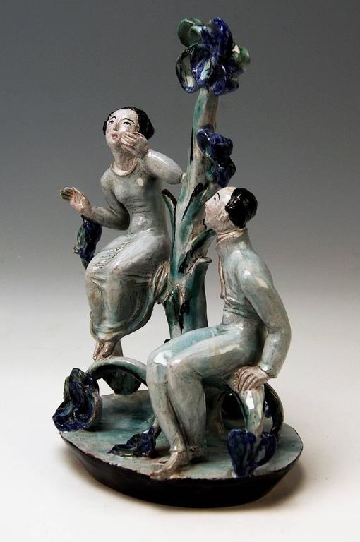 Expressionist Adam and Eve Ceramics Wiener Werkstätte Vienna Austria by Lotte Calm, circa 1925 For Sale