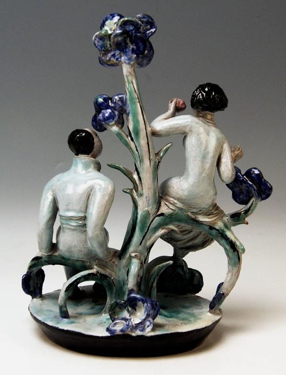 Austrian Adam and Eve Ceramics Wiener Werkstätte Vienna Austria by Lotte Calm, circa 1925 For Sale