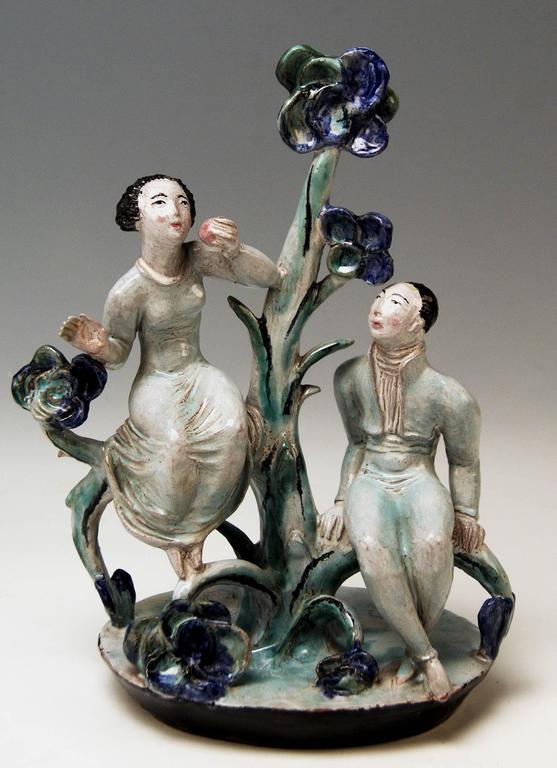 Glazed Adam and Eve Ceramics Wiener Werkstätte Vienna Austria by Lotte Calm, circa 1925 For Sale
