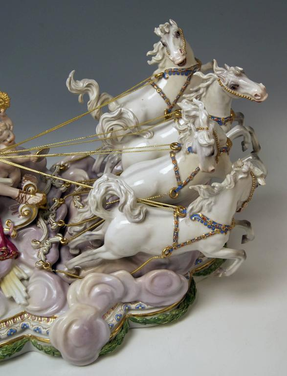German Meissen Apollo in Chariot of Sun by Kaendler for Czarina Katharina made c.1870 For Sale