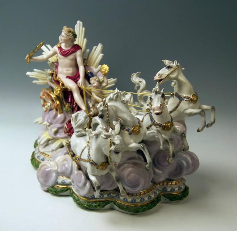 Glazed Meissen Apollo in Chariot of Sun by Kaendler for Czarina Katharina made c.1870 For Sale
