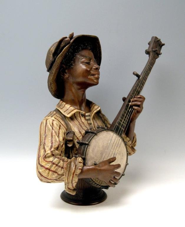 Other Goldscheider Friedrich Metal Alloy Paris France Boy Playing Banjo, circa 1895 For Sale