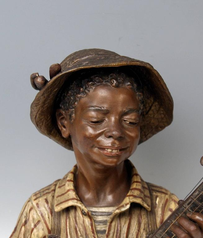 Goldscheider Friedrich Metal Alloy Paris France Boy Playing Banjo, circa 1895 In Excellent Condition For Sale In Vienna, AT