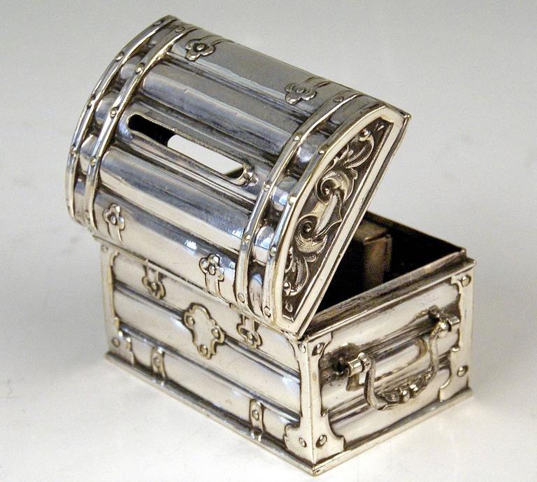 High Victorian Austrian Silver Money Box Piggy Bank Treasure Chest, circa 1880-1885