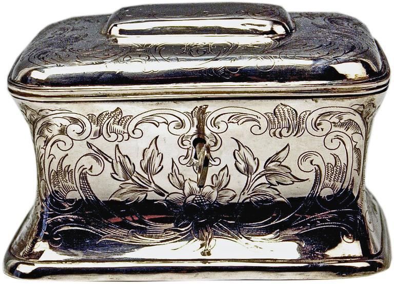 Austrian silver excellent sugar box. Manufactured during turn of century (made, circa 1900).  It is a stunning Viennese sugar box shaped as chest having tapering walls as well as rounded edges. The box has to be closed by slightly domed lid: