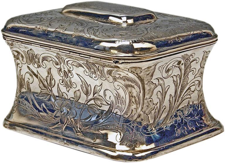 Art Nouveau Austrian Silver Sugar Box like Chest with Key, circa 1900 For Sale