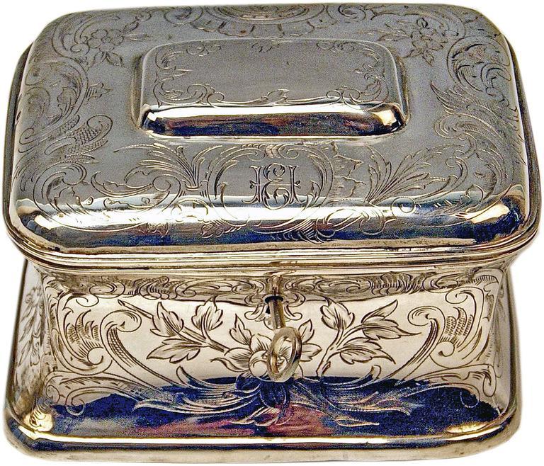 Austrian Silver Sugar Box like Chest with Key, circa 1900 For Sale 1