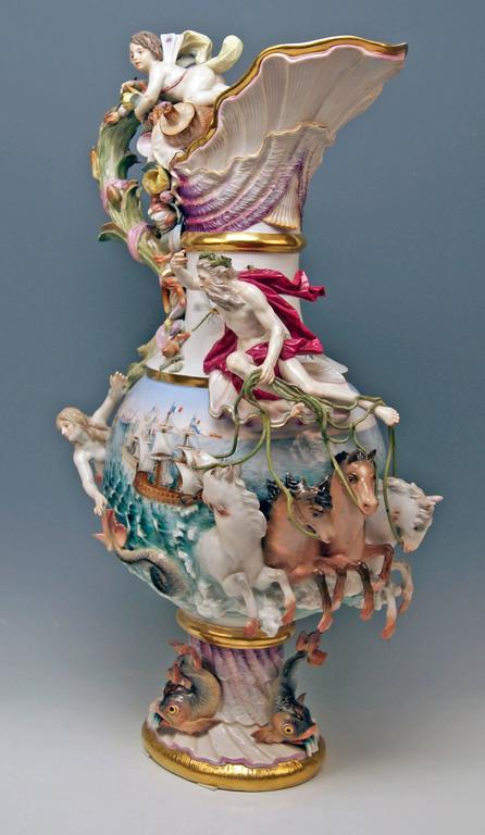 MEISSEN HUGE EWER THE WATER FOUR ELEMENTS BY KAENDLER height 25.78 inches c.1860 2