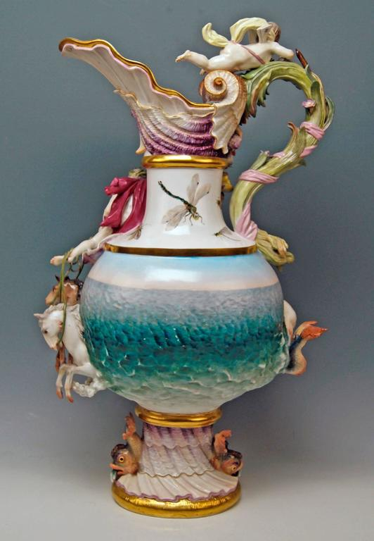 MEISSEN HUGE EWER THE WATER FOUR ELEMENTS BY KAENDLER height 25.78 inches c.1860 4