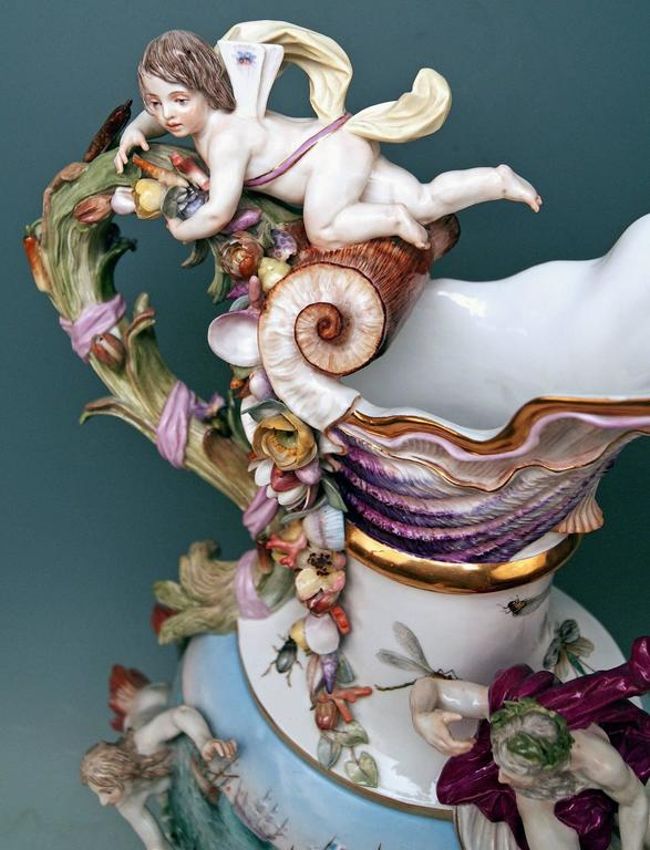 MEISSEN HUGE EWER THE WATER FOUR ELEMENTS BY KAENDLER height 25.78 inches c.1860 5