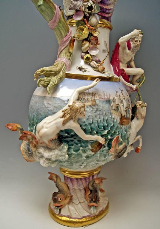 MEISSEN HUGE EWER THE WATER FOUR ELEMENTS BY KAENDLER height 25.78 inches c.1860 6