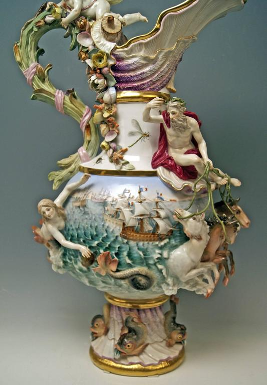 MEISSEN HUGE EWER THE WATER FOUR ELEMENTS BY KAENDLER height 25.78 inches c.1860 8