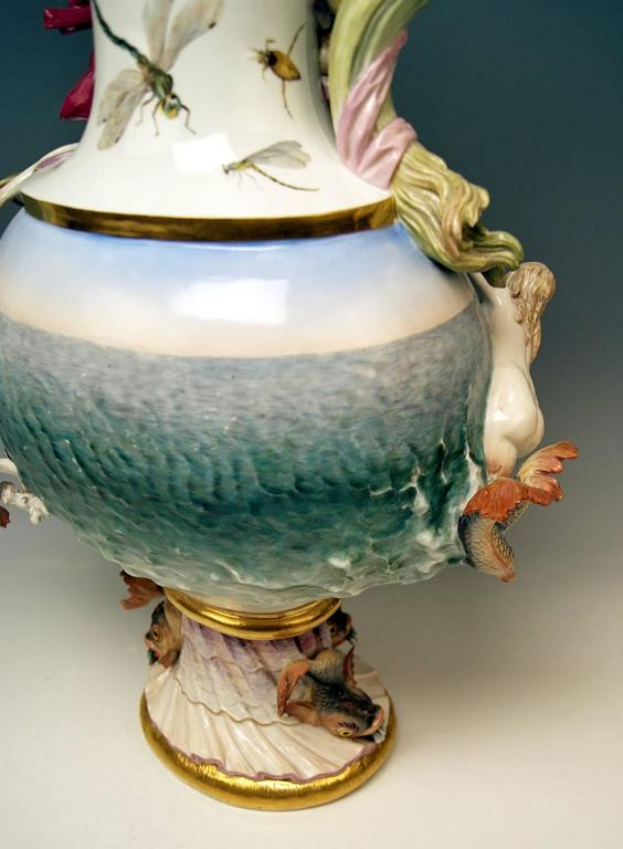 MEISSEN HUGE EWER THE WATER FOUR ELEMENTS BY KAENDLER height 25.78 inches c.1860 9