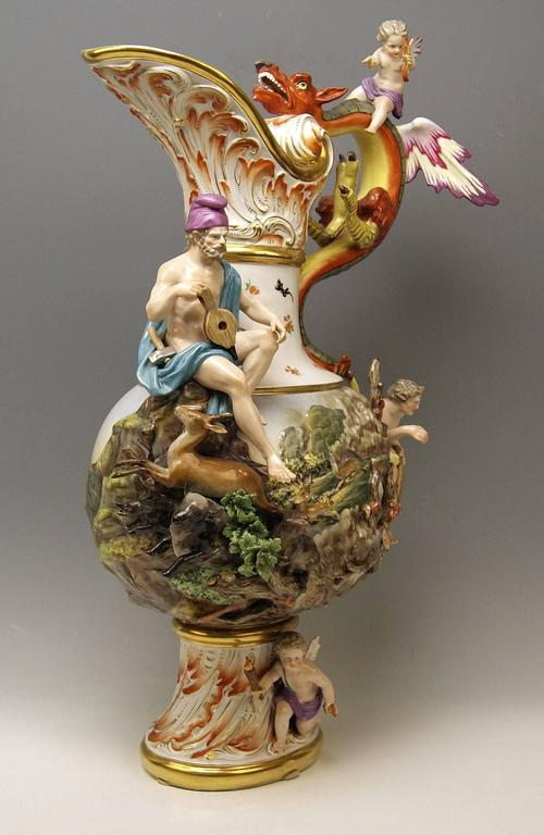 MEISSEN HUGE EWER THE FIRE FOUR ELEMENTS BY KAENDLER height 26.18 inches c.1860 2