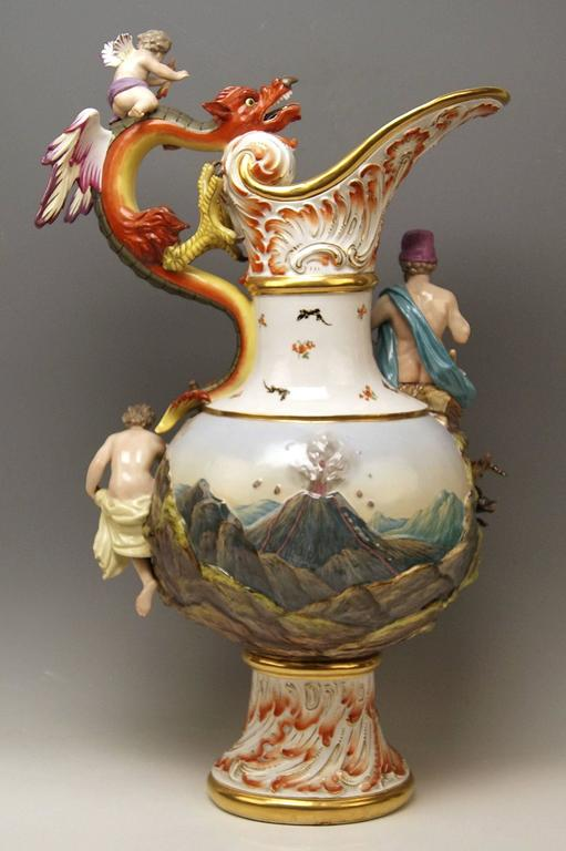 MEISSEN HUGE EWER THE FIRE FOUR ELEMENTS BY KAENDLER height 26.18 inches c.1860 3