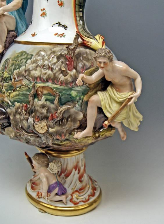 MEISSEN HUGE EWER THE FIRE FOUR ELEMENTS BY KAENDLER height 26.18 inches c.1860 6