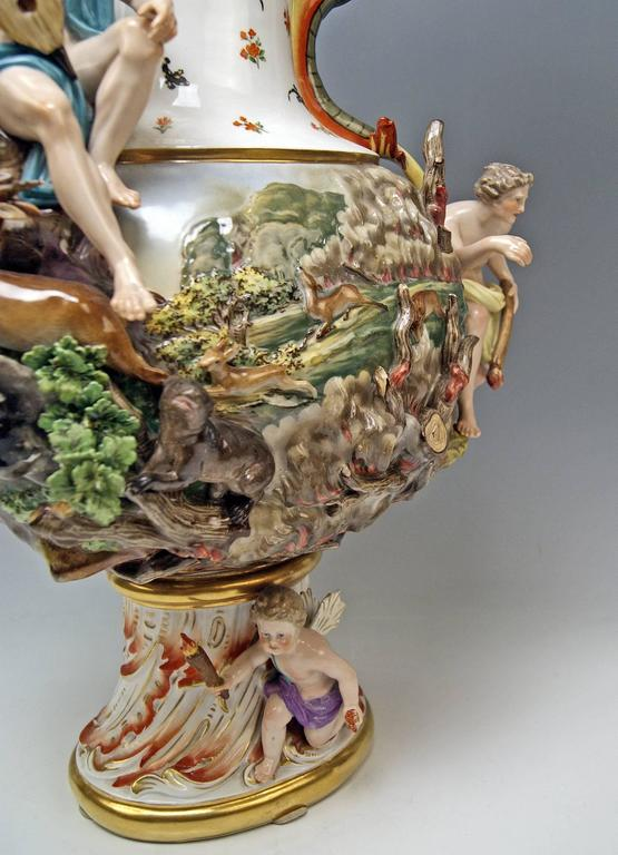 MEISSEN HUGE EWER THE FIRE FOUR ELEMENTS BY KAENDLER height 26.18 inches c.1860 8