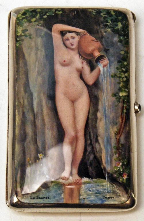 Silver Gorgeous Cigarette Case Enamel Painting The Source Jean A.D.Ingres c.1890 2