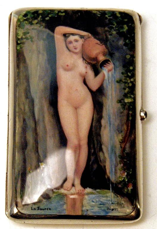 Silver Gorgeous Cigarette Case Enamel Painting The Source Jean A.D.Ingres c.1890 3