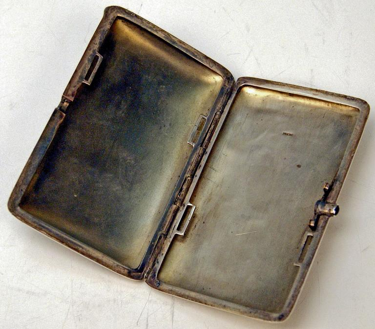 Silver Gorgeous Cigarette Case Enamel Painting The Source Jean A.D.Ingres c.1890 5