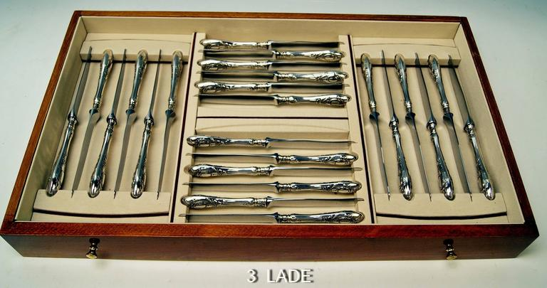 Silver Art Nouveau 116-Piece Flatware Cutlery 12 Pers, Lutz-Weiss Germany c.1900 For Sale 1
