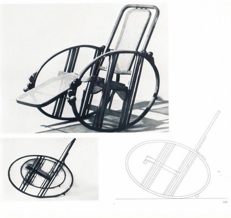 """Antonio Volpe Udine/Josef Hoffmann (Attr.) """"Egg"""" Black Rocking Chair, circa 1922 2"""