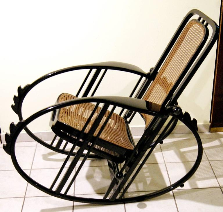 """Antonio Volpe Udine/Josef Hoffmann (Attr.) """"Egg"""" Black Rocking Chair, circa 1922 8"""