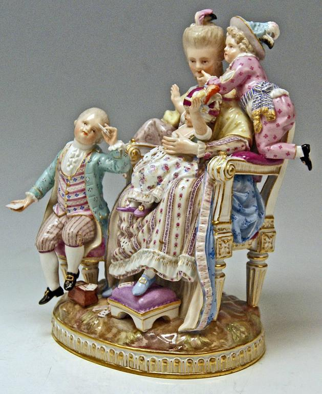 Meissen most remarkable figurine group by Michel Victor Acier (1774): The Loving Mother
