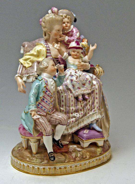 Rococo Meissen Stunning Figurine Group The Loving Mother by Michel V. Acier, circa 1870 For Sale