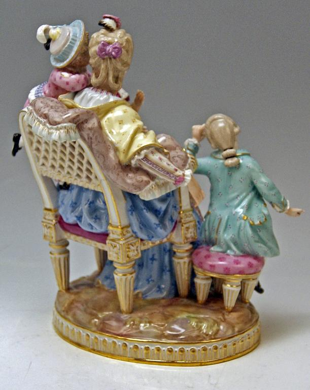 Glazed Meissen Stunning Figurine Group The Loving Mother by Michel V. Acier, circa 1870 For Sale