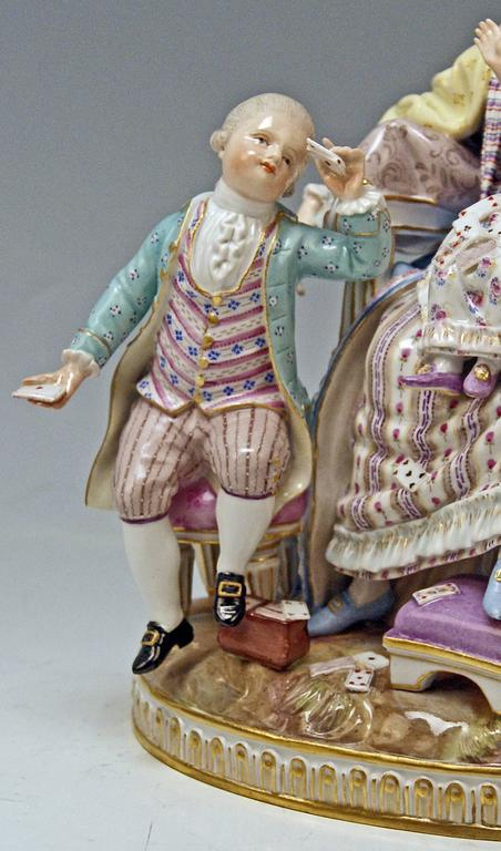 Late 19th Century Meissen Stunning Figurine Group The Loving Mother by Michel V. Acier, circa 1870 For Sale