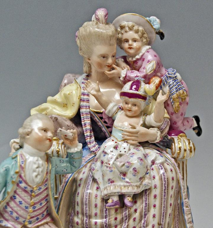 Porcelain Meissen Stunning Figurine Group The Loving Mother by Michel V. Acier, circa 1870 For Sale