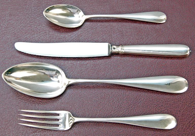 Silver 800 48-Piece Flatware Cutlery Set 12 Persons V.C.Dub Austria Vienna, 1900 4