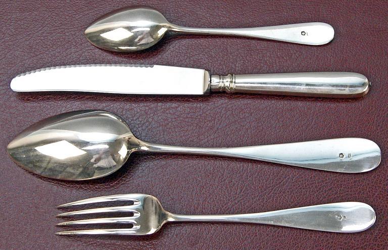 Silver 800 48-Piece Flatware Cutlery Set 12 Persons V.C.Dub Austria Vienna, 1900 6
