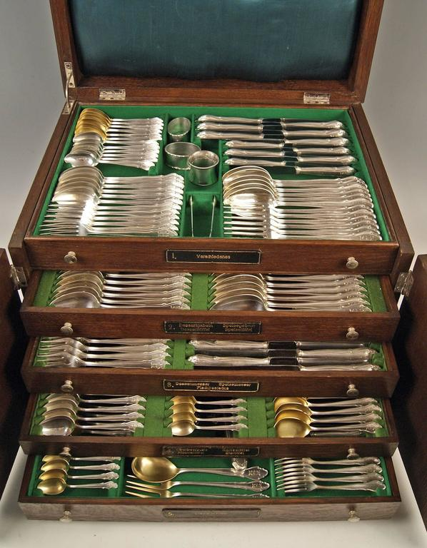 Silver 264-piece flatware (cutlery set) for 18 persons, Made by Koch & Bergfeld, Germany / Bremen,circa 1900  Gorgeous German cutlery set / flatware / dinnerware consisting of 264 pieces. Most elegant design = Baroque FORM & engraved initials