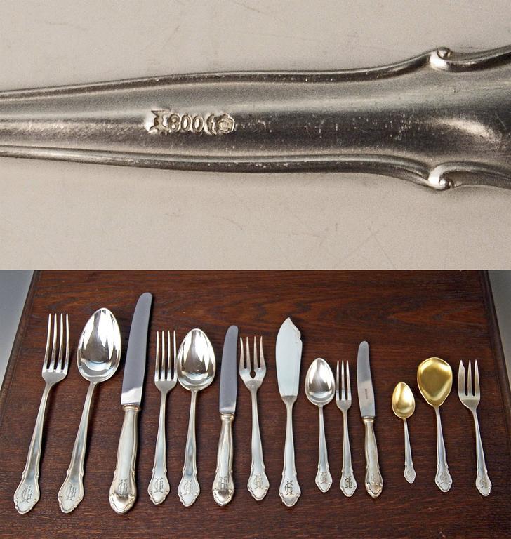 Koch Bergfeld Silver 800 Cutlery Baroque Design 264-Pieces Bremen Germany 1900 For Sale 6