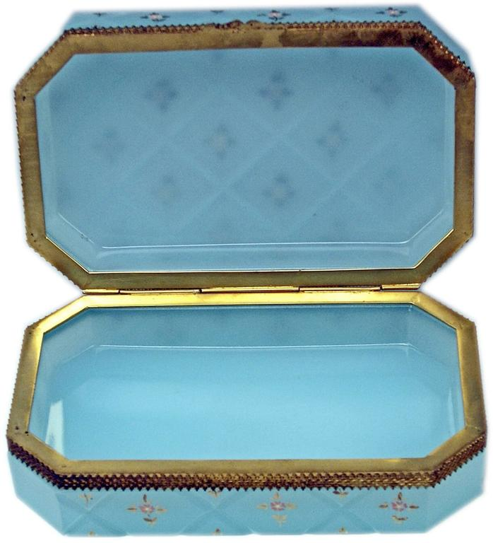 Austrian Opaline Blue Casket Box Gilt Bronze Mounting Painted Flowers Bohemia, circa 1850 For Sale