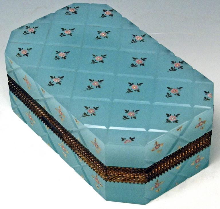 Opaline Blue Casket Box Gilt Bronze Mounting Painted Flowers Bohemia, circa 1850 In Excellent Condition For Sale In Vienna, AT