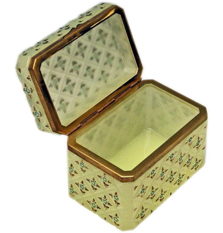 Mid-19th Century Opaline Green Casket Box Gilt Bronze Mounting Painted Flowers Bohemia c.1850 For Sale