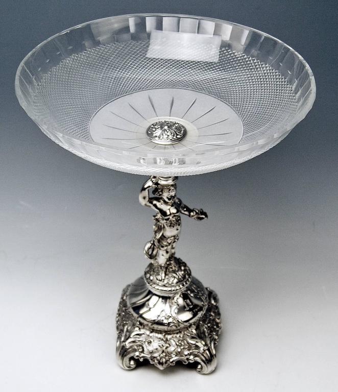 Silver Austrian Centrepiece with Cherub and Round Glass Platter Dated 11-10-1900 2