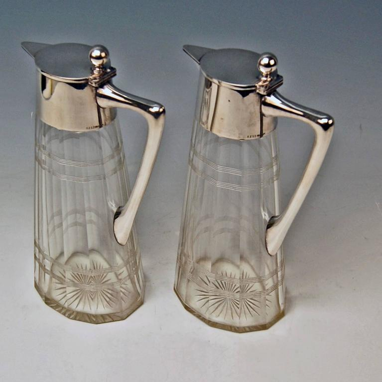 Silver Pair of Glass Decanters Wilhelm Binder Art Nouveau Germany circa 1900 In Excellent Condition For Sale In Vienna, AT