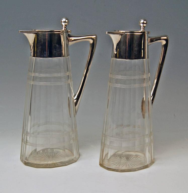 Early 20th Century Silver Pair of Glass Decanters Wilhelm Binder Art Nouveau Germany circa 1900 For Sale