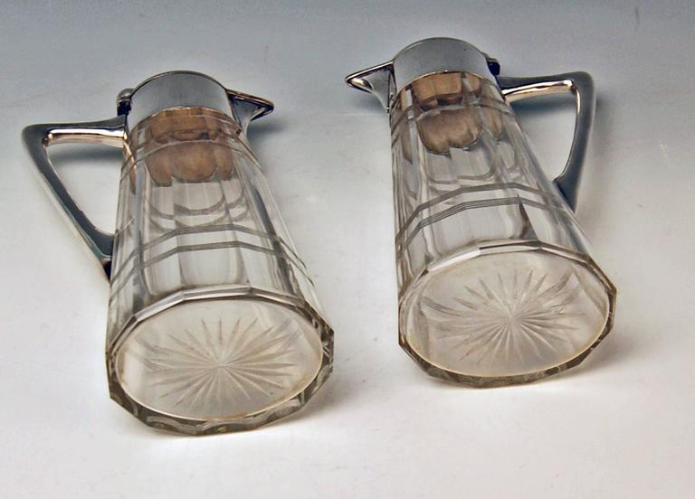Silver Pair of Glass Decanters Wilhelm Binder Art Nouveau Germany circa 1900 For Sale 1