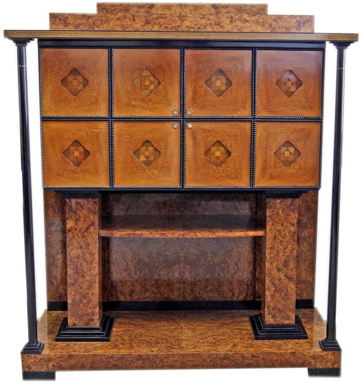 Gorgeous Art Nouveau music room cabinet of finest manufacturing quality.  Designer: Attributed to circle of Josef Maria Olbrich (1867-1908). Olbrich, the world-famous Austrian architect and co-founder of the Viennese Secession, had studied as from