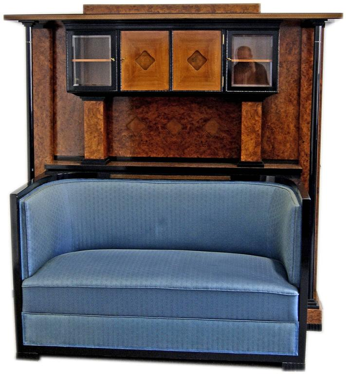 Gorgeous Art Nouveau music room settee with cabinet of finest manufacturing quality.