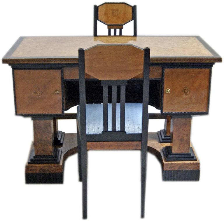 Music Room Desk Two Chairs Circle Josef Maria Olbrich Darmstadt Germany c.1900 2