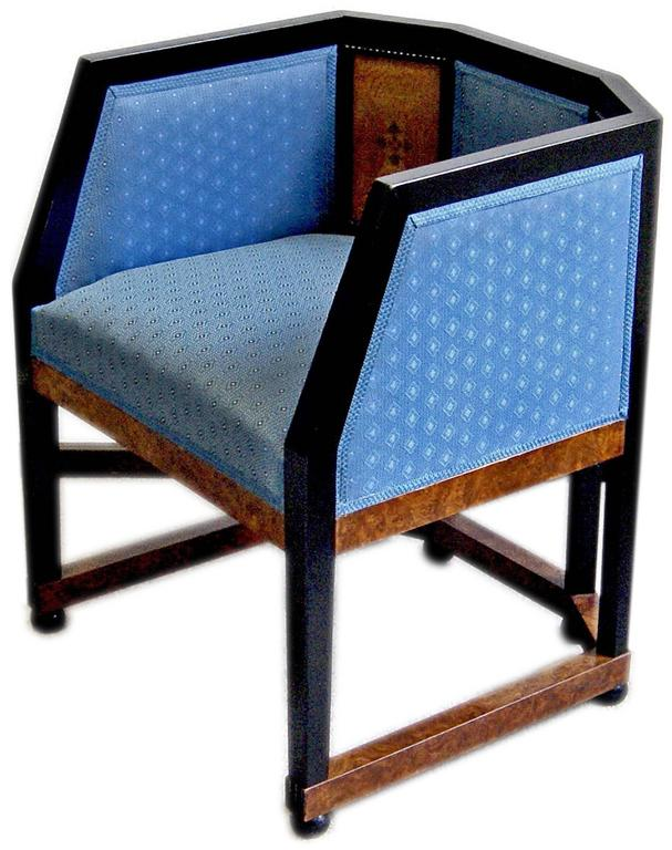 Gorgeous Art Nouveau armchair of finest manufacturing quality.  Designer: Attributed to circle ofJosef Maria Olbrich (1867 - 1908). Olbrich, the world-famous Austrian architect and co-founder of the Viennese Secession, had studied as from the